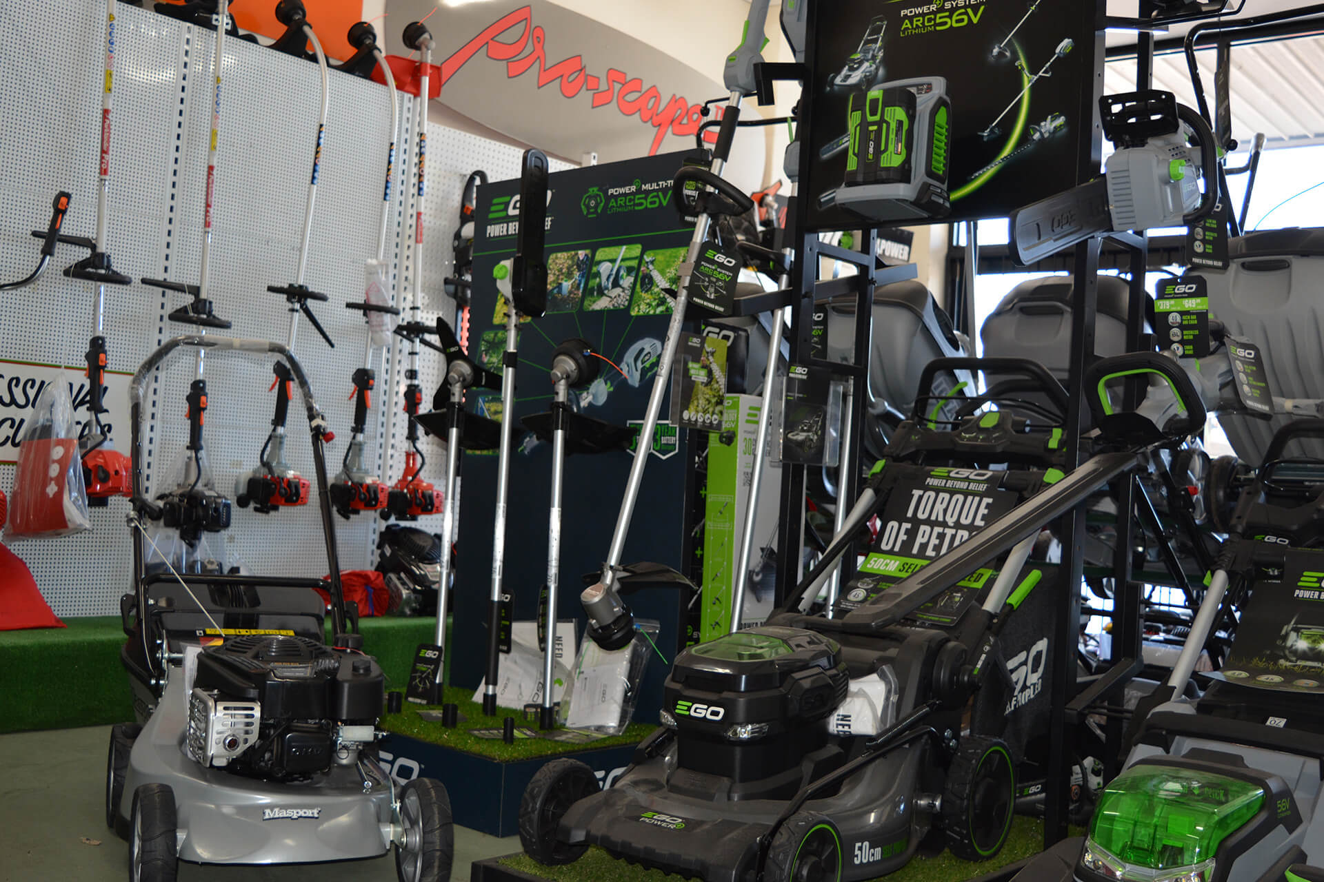 Mowers on display